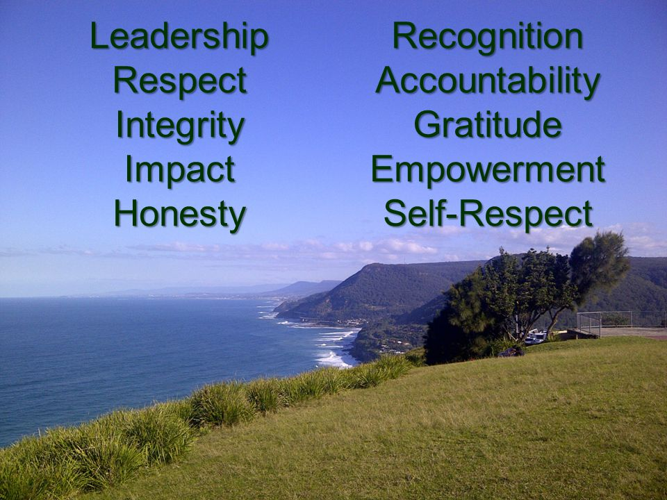 LeadershipRespectIntegrityImpactHonestyRecognitionAccountabilityGratitudeEmpowermentSelf-Respect