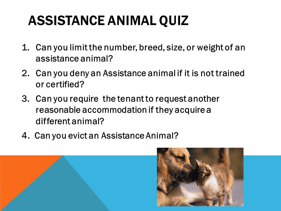 ADA NOT APPLICABLE IN HOUSING  Under the Fair Housing Act and Section 504, individuals with disabilities may request reasonable accommodations for assistance animals, including all animals, not just dogs or miniature horses.