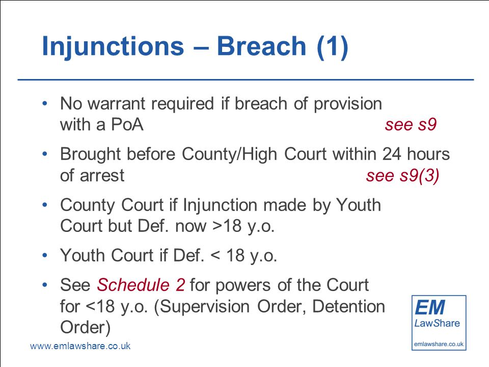 www.emlawshare.co.uk Injunctions – Breach (1) No warrant required if breach of provision with a PoA see s9 Brought before County/High Court within 24 hours of arrest see s9(3) County Court if Injunction made by Youth Court but Def.