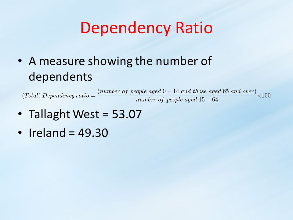 Dependency Ratio A measure showing the number of dependents Tallaght West = 53.07 Ireland = 49.30