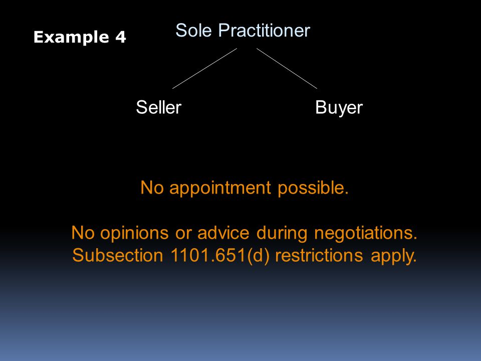 Sole Practitioner SellerBuyer No appointment possible.