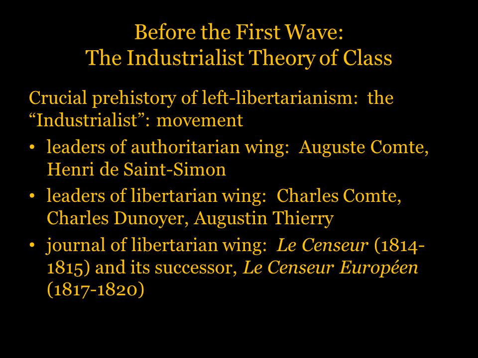 """Before the First Wave: The Industrialist Theory of Class Crucial prehistory of left-libertarianism: the """"Industrialist"""": movement leaders of authorita"""