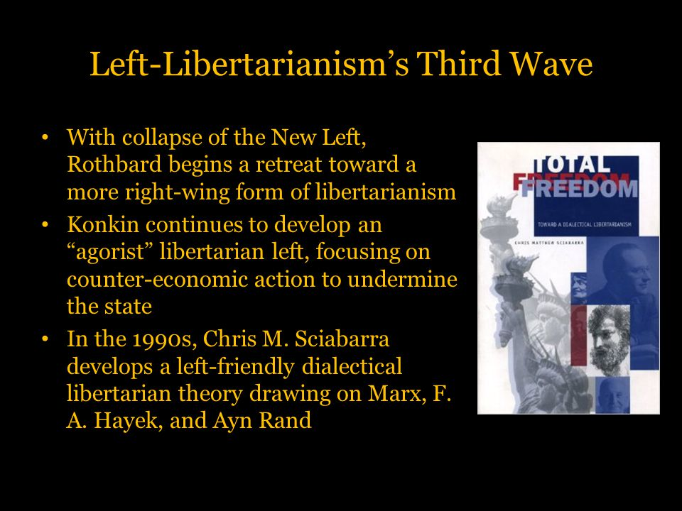 Left-Libertarianism's Third Wave With collapse of the New Left, Rothbard begins a retreat toward a more right-wing form of libertarianism Konkin conti
