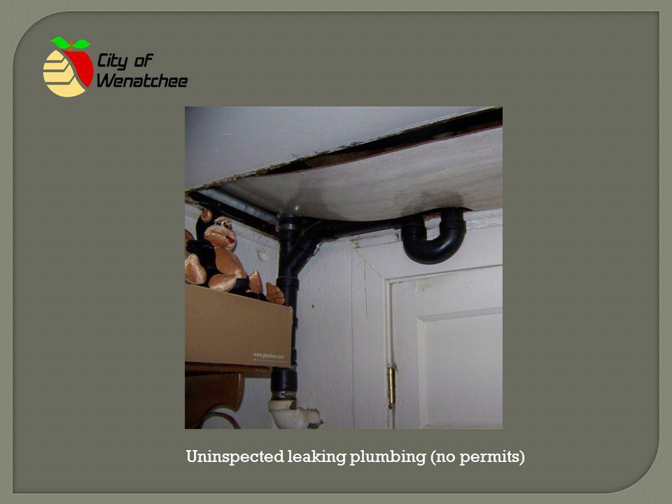 Uninspected leaking plumbing (no permits)