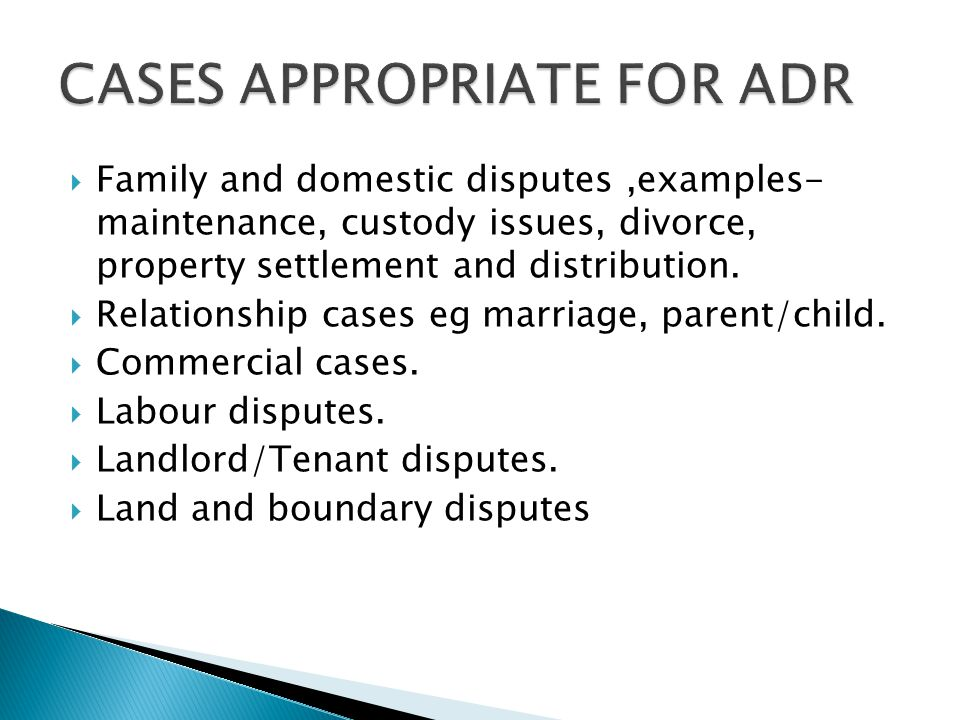  Family and domestic disputes,examples- maintenance, custody issues, divorce, property settlement and distribution.