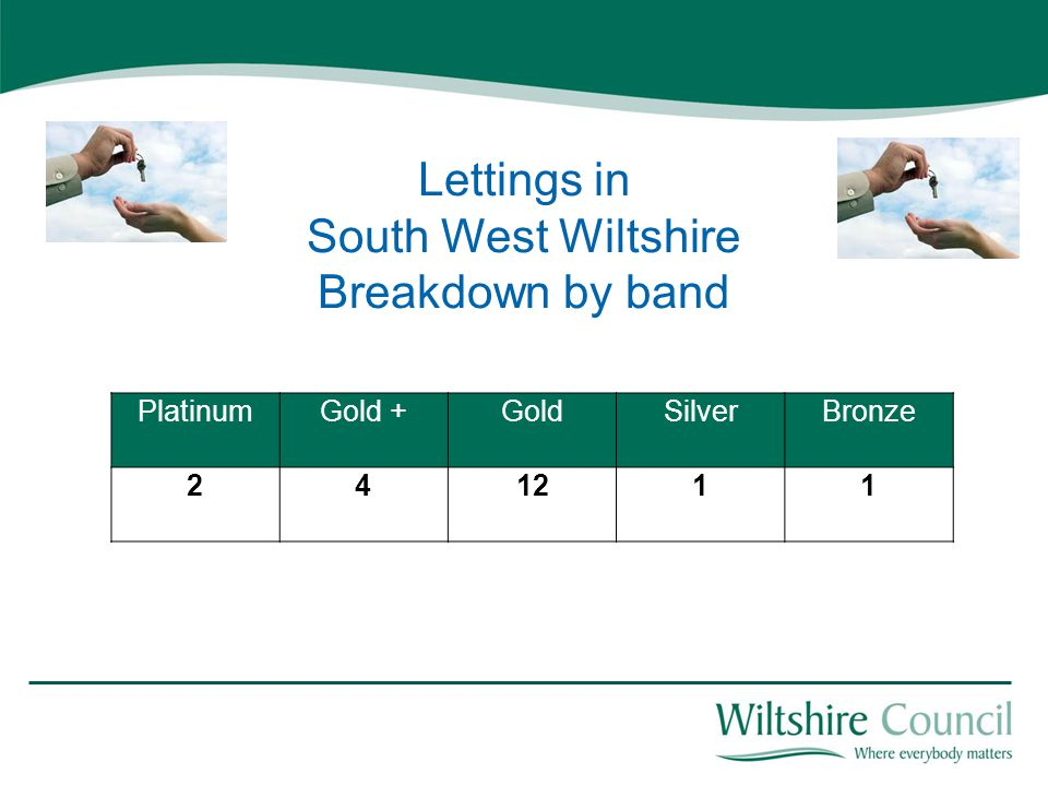 PlatinumGold +GoldSilverBronze 241211 Lettings in South West Wiltshire Breakdown by band