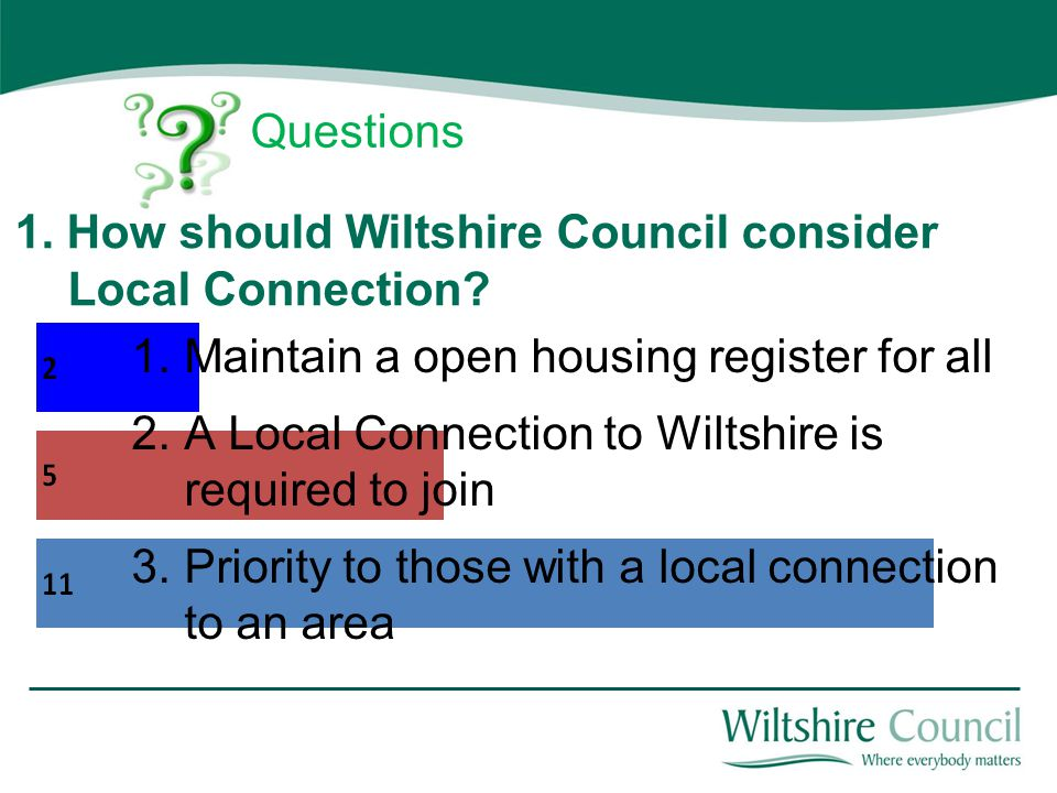 1. How should Wiltshire Council consider Local Connection.