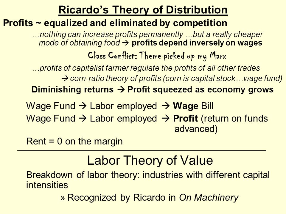 Ricardo's Theory of Distribution Profits ~ equalized and eliminated by competition …nothing can increase profits permanently …but a really cheaper mod