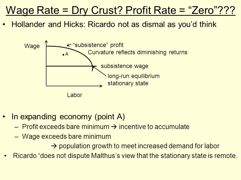 """Wage Rate = Dry Crust? Profit Rate = """"Zero""""??? Hollander and Hicks: Ricardo not as dismal as you'd think In expanding economy (point A) –Profit exceed"""