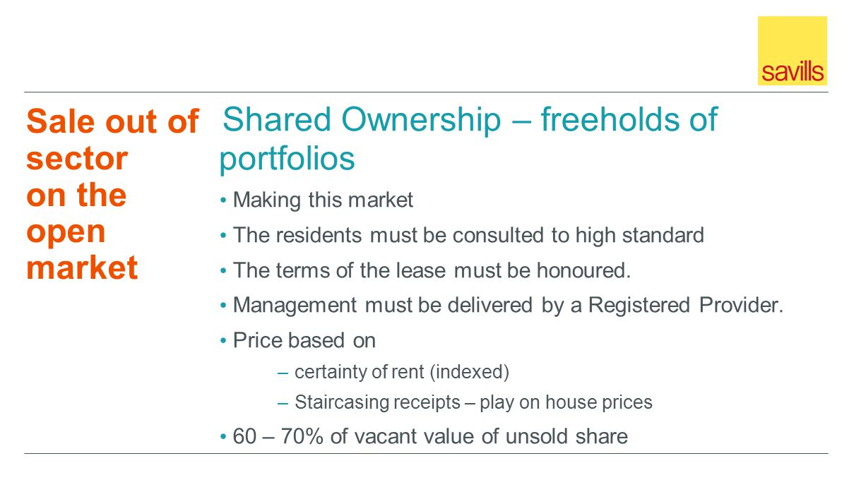 Sale out of sector on the open market Shared Ownership – freeholds of portfolios Making this market The residents must be consulted to high standard The terms of the lease must be honoured.