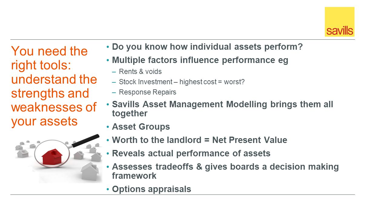 You need the right tools: understand the strengths and weaknesses of your assets Do you know how individual assets perform.