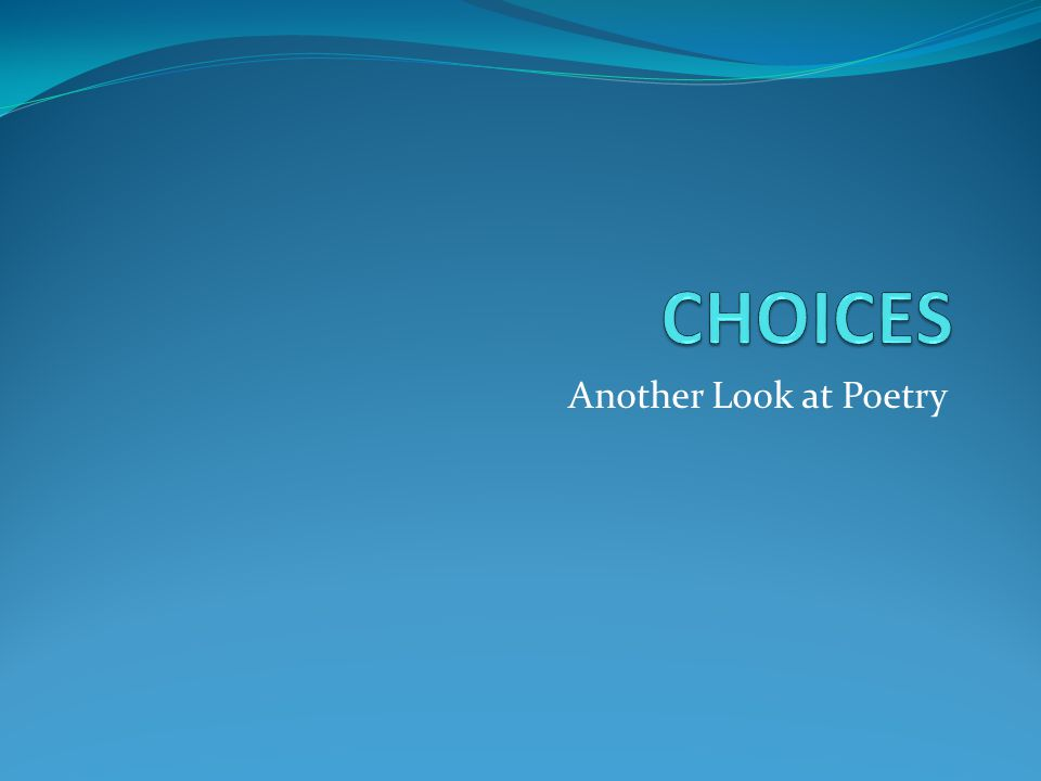 Another Look at Poetry