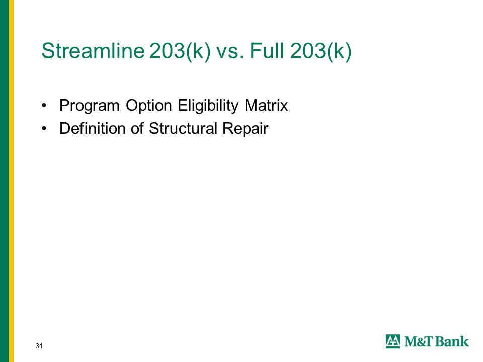 31 Streamline 203(k) vs. Full 203(k) Program Option Eligibility Matrix Definition of Structural Repair