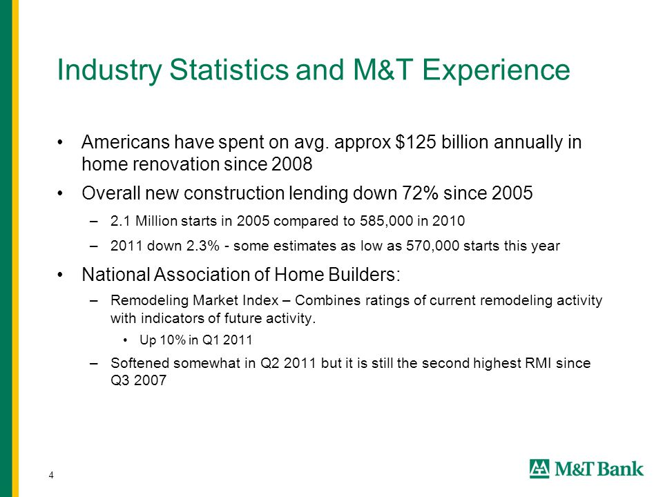 4 Industry Statistics and M & T Experience Americans have spent on avg. approx $125 billion annually in home renovation since 2008 Overall new constru