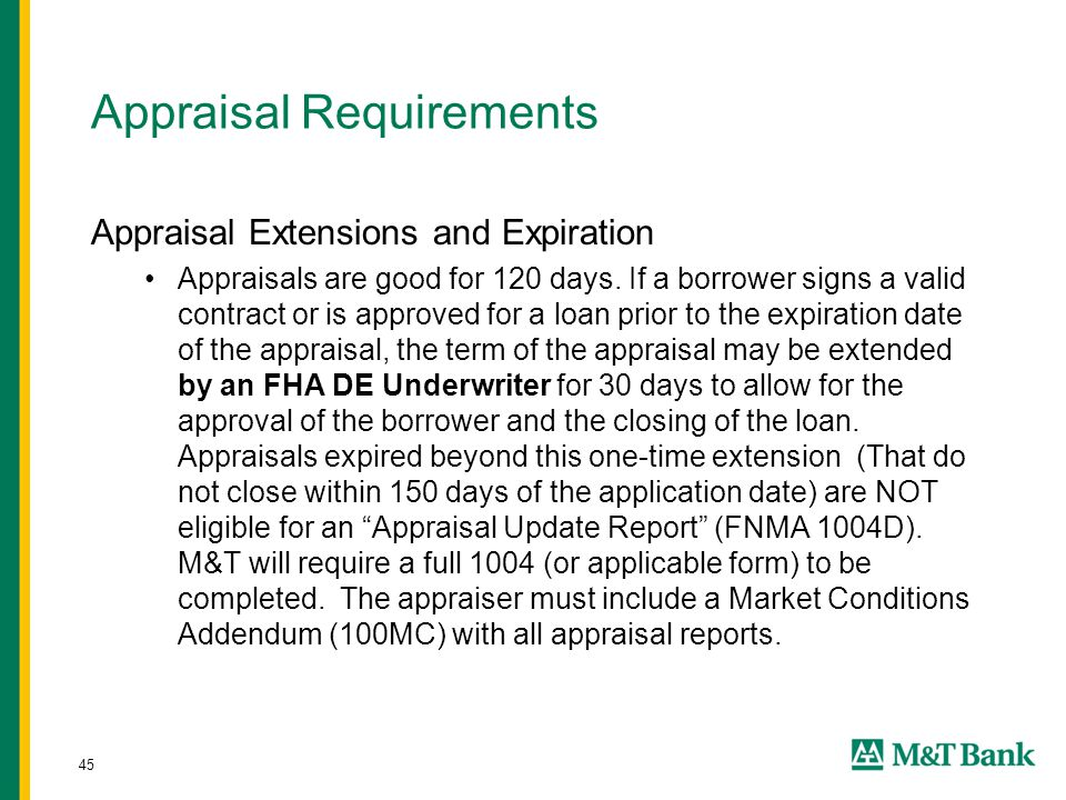 45 Appraisal Requirements Appraisal Extensions and Expiration Appraisals are good for 120 days.