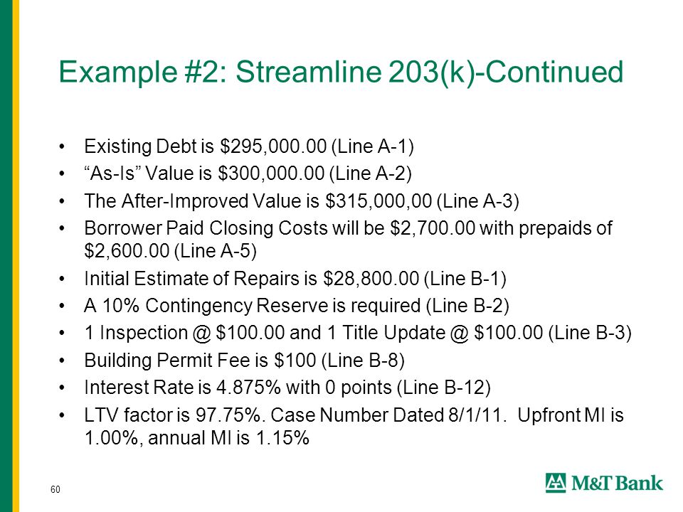 "60 Example #2: Streamline 203(k)-Continued Existing Debt is $295,000.00 (Line A-1) ""As-Is"" Value is $300,000.00 (Line A-2) The After-Improved Value is"