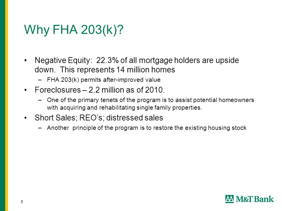 8 Why FHA 203(k). Negative Equity: 22.3% of all mortgage holders are upside down.