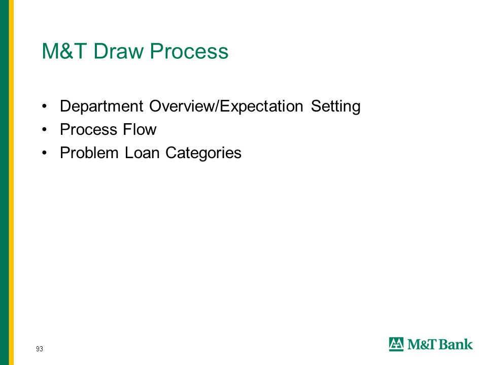 93 M&T Draw Process Department Overview/Expectation Setting Process Flow Problem Loan Categories