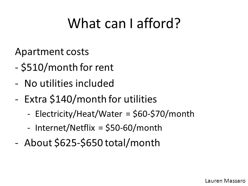 What can I afford? Apartment costs - $510/month for rent -No utilities included -Extra $140/month for utilities -Electricity/Heat/Water = $60-$70/mont