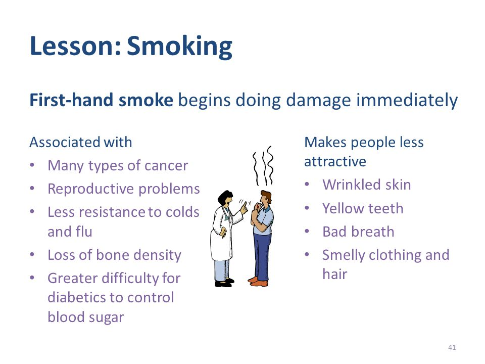 Lesson: Smoking Associated with Many types of cancer Reproductive problems Less resistance to colds and flu Loss of bone density Greater difficulty for diabetics to control blood sugar Makes people less attractive Wrinkled skin Yellow teeth Bad breath Smelly clothing and hair 41 First-hand smoke begins doing damage immediately