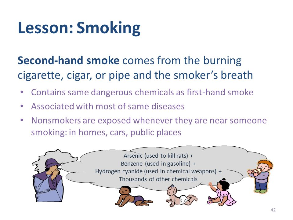 Lesson: Smoking Contains same dangerous chemicals as first-hand smoke Associated with most of same diseases Nonsmokers are exposed whenever they are near someone smoking: in homes, cars, public places 42 Second-hand smoke comes from the burning cigarette, cigar, or pipe and the smoker's breath Arsenic (used to kill rats) + Benzene (used in gasoline) + Hydrogen cyanide (used in chemical weapons) + Thousands of other chemicals
