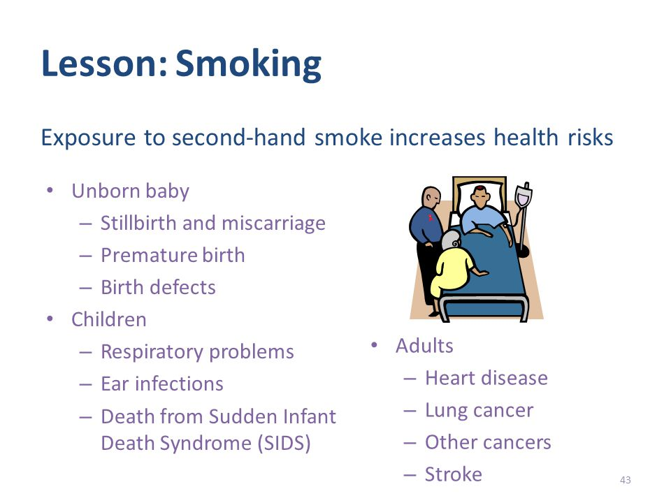 Lesson: Smoking Unborn baby – Stillbirth and miscarriage – Premature birth – Birth defects Children – Respiratory problems – Ear infections – Death from Sudden Infant Death Syndrome (SIDS) 43 Exposure to second-hand smoke increases health risks Adults – Heart disease – Lung cancer – Other cancers – Stroke