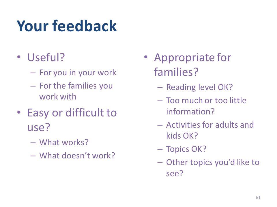 Your feedback Useful.