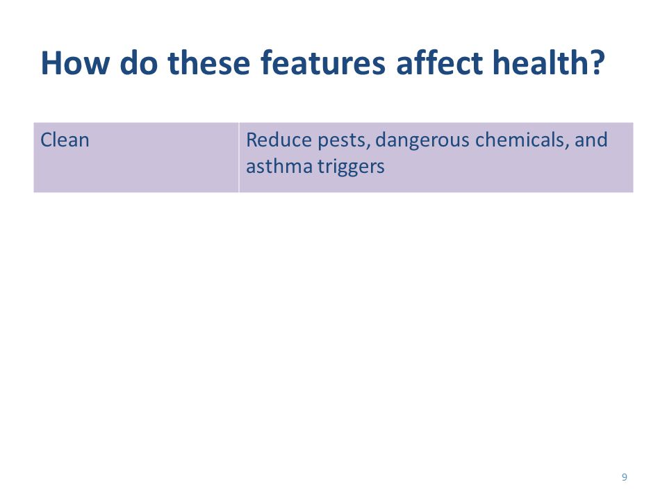 How do these features affect health CleanReduce pests, dangerous chemicals, and asthma triggers 9