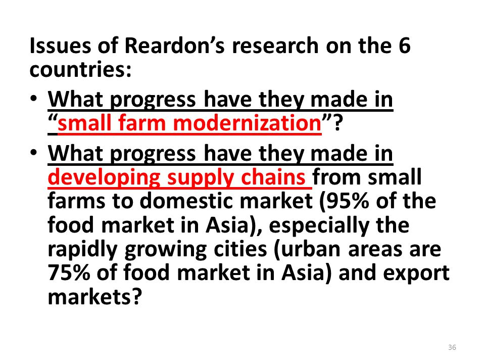 """Issues of Reardon's research on the 6 countries: What progress have they made in """"small farm modernization""""? What progress have they made in developin"""