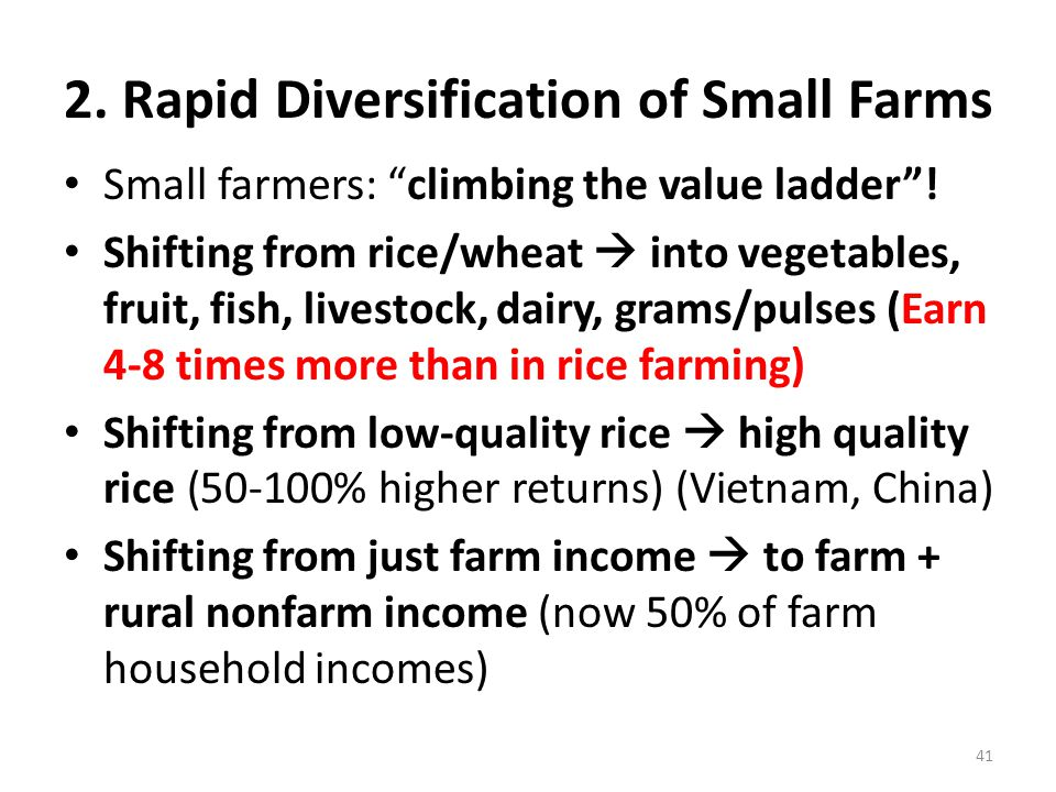 """2. Rapid Diversification of Small Farms Small farmers: """"climbing the value ladder""""! Shifting from rice/wheat  into vegetables, fruit, fish, livestock"""