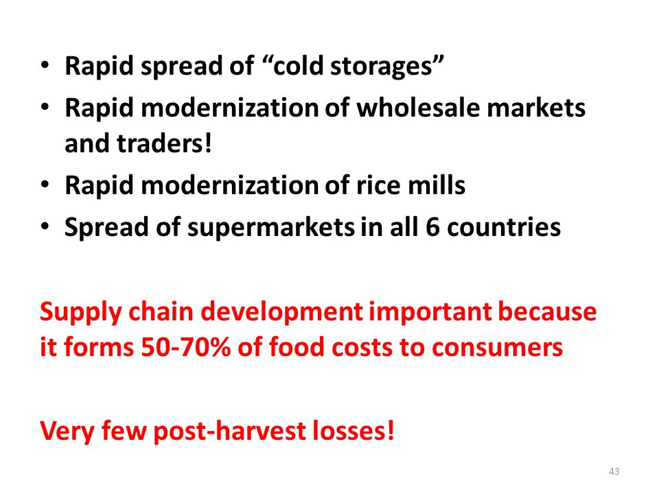Rapid spread of cold storages Rapid modernization of wholesale markets and traders.