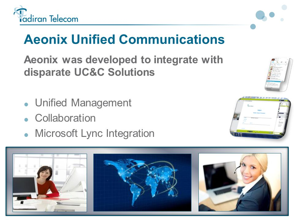 14 Aeonix Unified Communications Aeonix was developed to integrate with disparate UC&C Solutions  Unified Management  Collaboration  Microsoft Lync