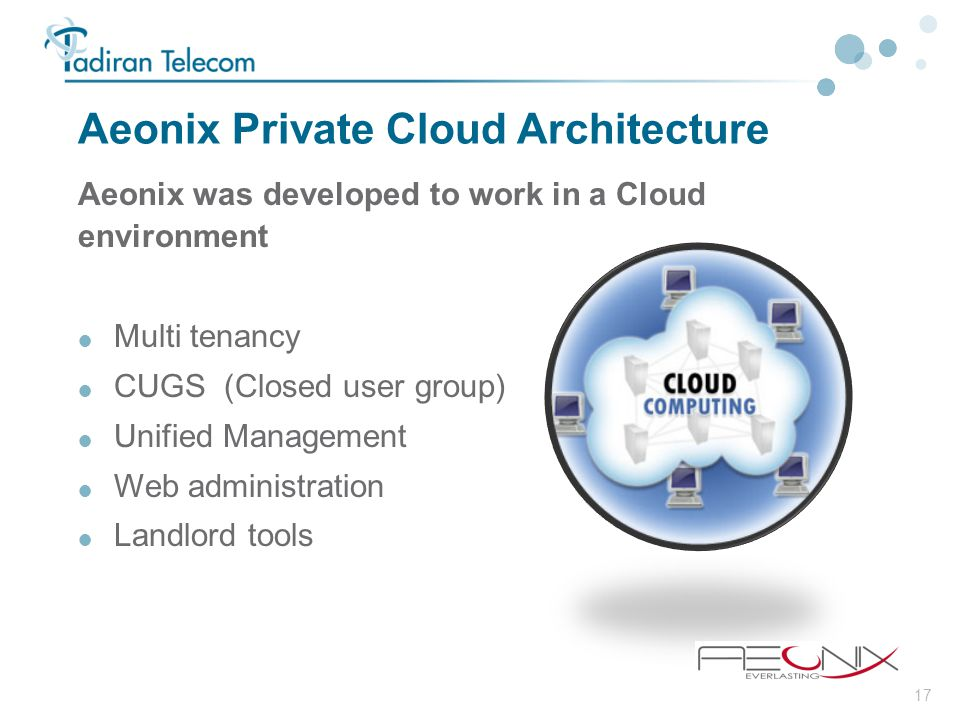 17 Aeonix Private Cloud Architecture Aeonix was developed to work in a Cloud environment  Multi tenancy  CUGS (Closed user group)  Unified Manageme