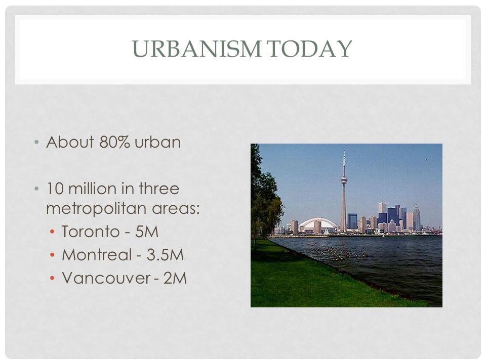 URBANISM TODAY About 80% urban 10 million in three metropolitan areas: Toronto - 5M Montreal - 3.5M Vancouver - 2M