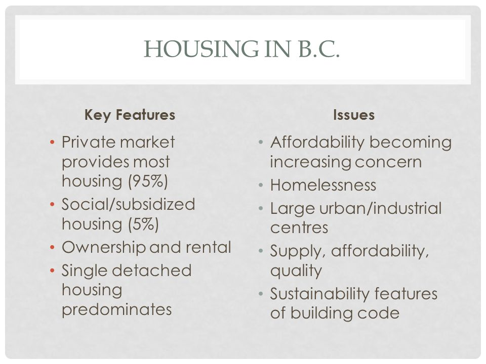 HOUSING IN B.C. Key Features Private market provides most housing (95%) Social/subsidized housing (5%) Ownership and rental Single detached housing pr