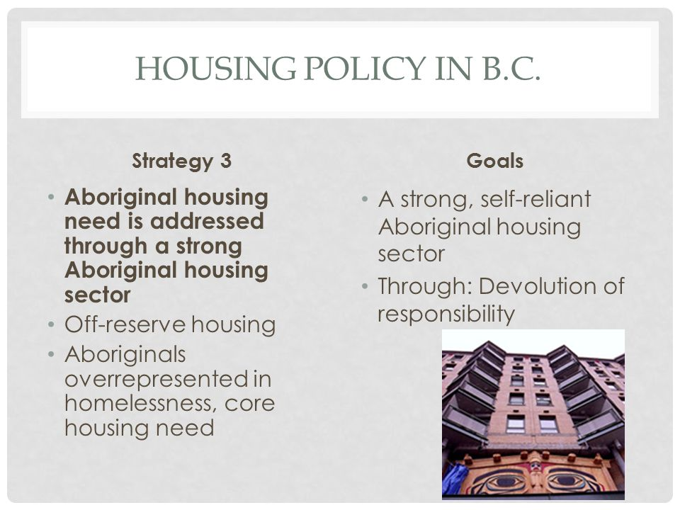 HOUSING POLICY IN B.C. Strategy 3 Aboriginal housing need is addressed through a strong Aboriginal housing sector Off-reserve housing Aboriginals over