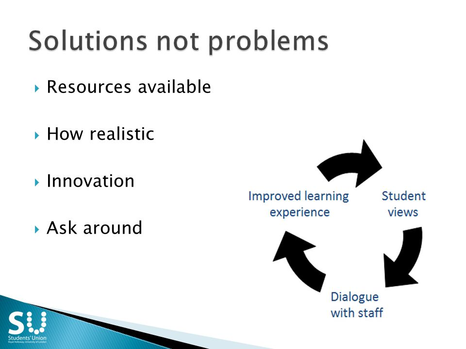  Resources available  How realistic  Innovation  Ask around