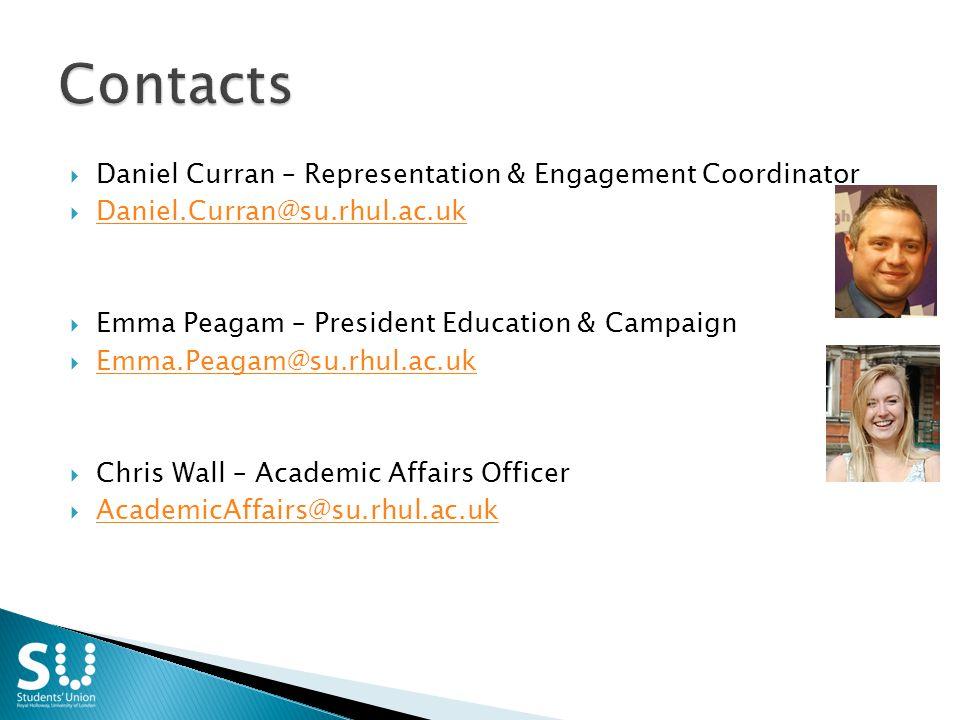  Daniel Curran – Representation & Engagement Coordinator  Daniel.Curran@su.rhul.ac.uk Daniel.Curran@su.rhul.ac.uk  Emma Peagam – President Education & Campaign  Emma.Peagam@su.rhul.ac.uk Emma.Peagam@su.rhul.ac.uk  Chris Wall – Academic Affairs Officer  AcademicAffairs@su.rhul.ac.uk AcademicAffairs@su.rhul.ac.uk
