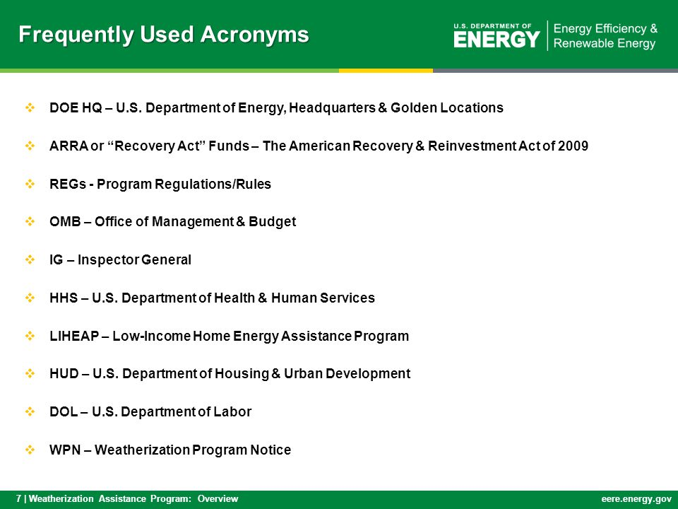 7 | Weatherization Assistance Program: Overvieweere.energy.gov  DOE HQ – U.S.