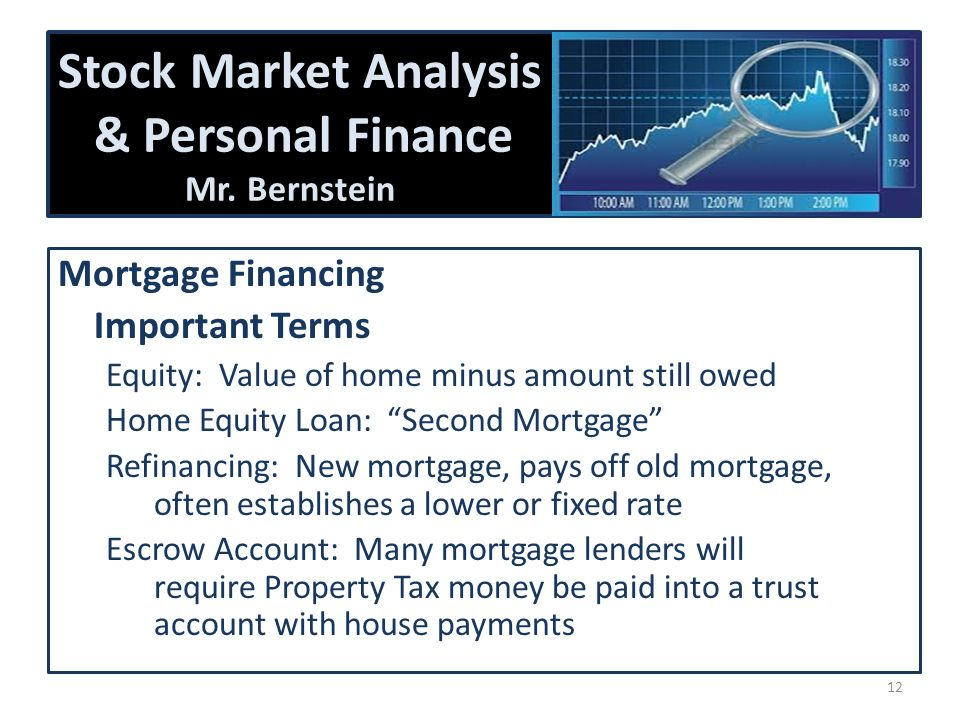 Stock Market Analysis & Personal Finance Mr. Bernstein Mortgage Financing Important Terms Equity: Value of home minus amount still owed Home Equity Lo