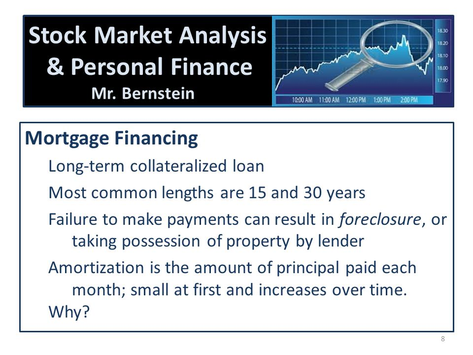 Stock Market Analysis & Personal Finance Mr. Bernstein Mortgage Financing Long-term collateralized loan Most common lengths are 15 and 30 years Failur