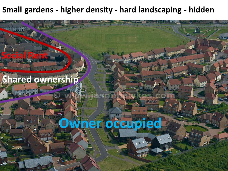 Social Rent Shared ownership Owner occupied Small gardens - higher density - hard landscaping - hidden