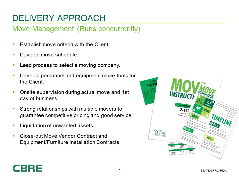 8 STATE OF FLORIDA Move Management (Runs concurrently) DELIVERY APPROACH  Establish move criteria with the Client.