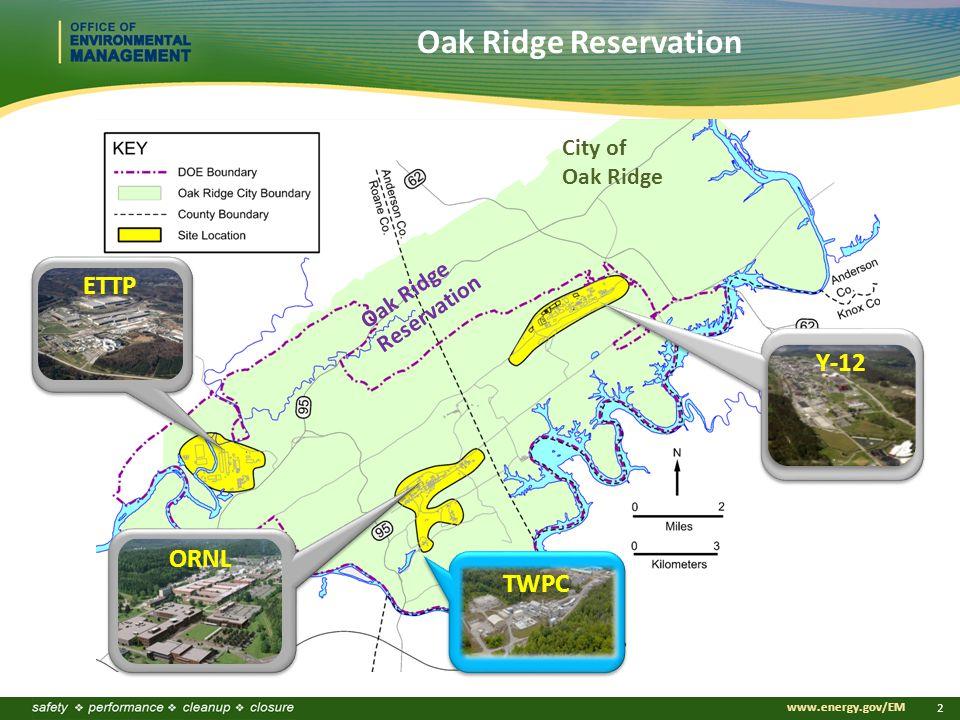 www.energy.gov/EM 2 ETTP ORNL Y-12 City of Oak Ridge Reservation Oak Ridge Reservation TWPC