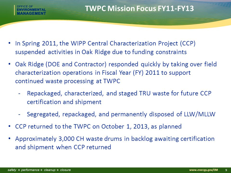 www.energy.gov/EM 9 In Spring 2011, the WIPP Central Characterization Project (CCP) suspended activities in Oak Ridge due to funding constraints Oak Ridge (DOE and Contractor) responded quickly by taking over field characterization operations in Fiscal Year (FY) 2011 to support continued waste processing at TWPC -Repackaged, characterized, and staged TRU waste for future CCP certification and shipment -Segregated, repackaged, and permanently disposed of LLW/MLLW CCP returned to the TWPC on October 1, 2013, as planned Approximately 3,000 CH waste drums in backlog awaiting certification and shipment when CCP returned TWPC Mission Focus FY11-FY13