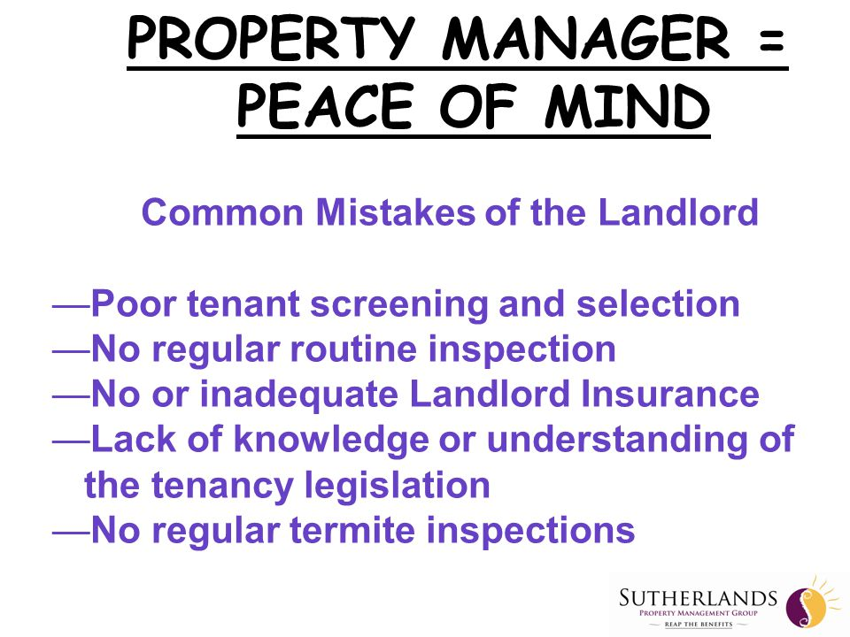 Our Competitors …… PROPERTY MANAGER = PEACE OF MIND