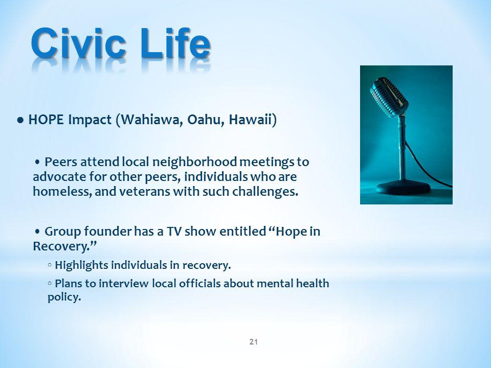 ● HOPE Impact (Wahiawa, Oahu, Hawaii) Peers attend local neighborhood meetings to advocate for other peers, individuals who are homeless, and veterans