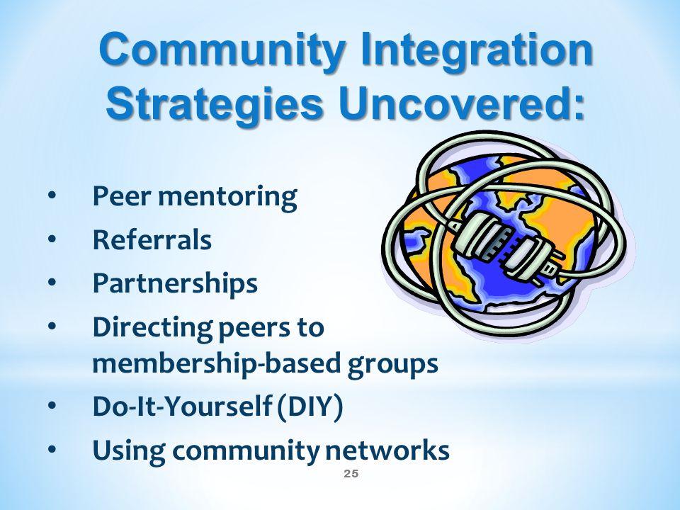 25 Community Integration Strategies Uncovered: Peer mentoring Referrals Partnerships Directing peers to membership-based groups Do-It-Yourself (DIY) U