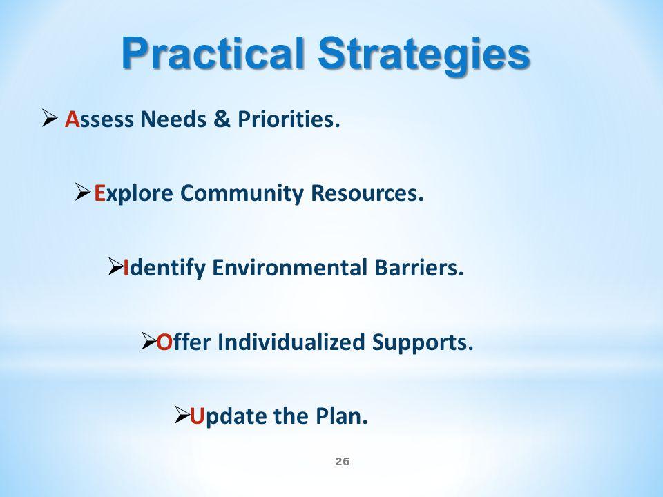 26 Practical Strategies  Assess Needs & Priorities.