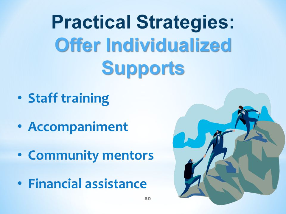 30 Offer Individualized Supports Practical Strategies: Offer Individualized Supports Staff training Accompaniment Community mentors Financial assistan